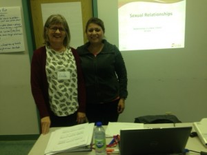 Linda and Martha, 2 of SERC's Sexual and Reproductive Health Facilitator