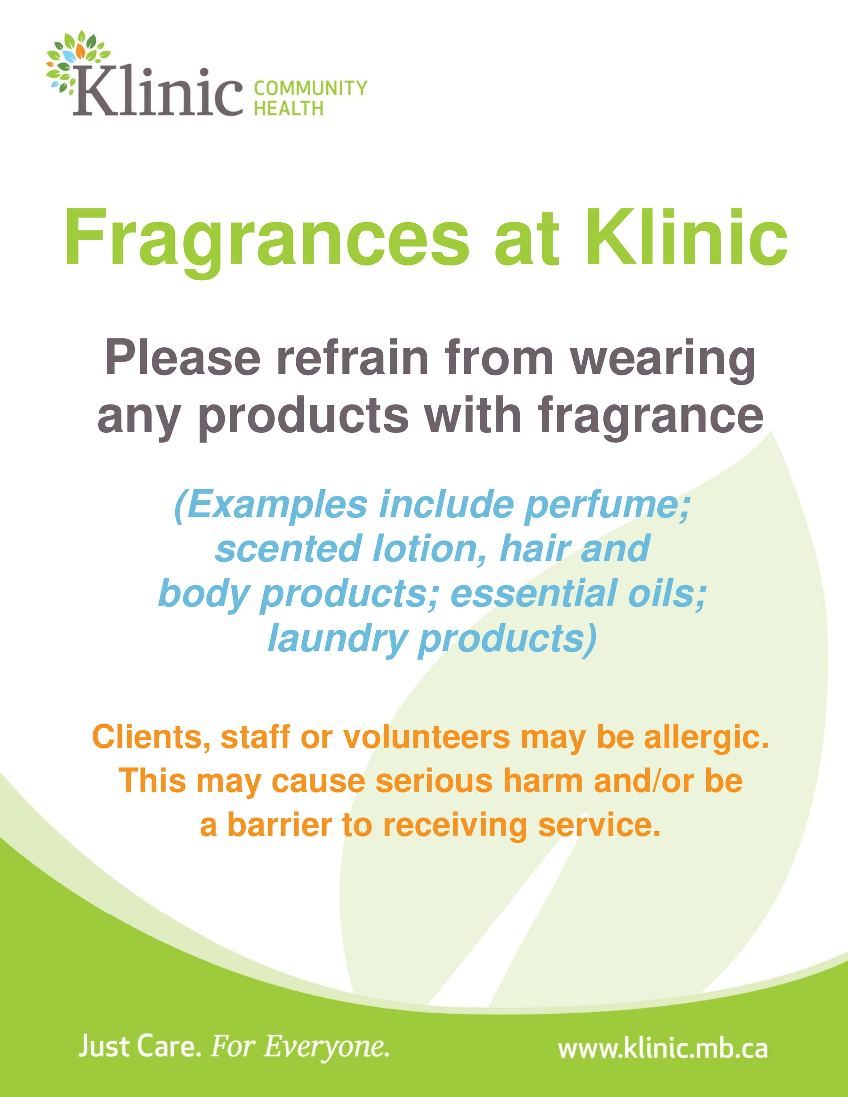 Friendly Reminder Klinic Is A Scent Free Building